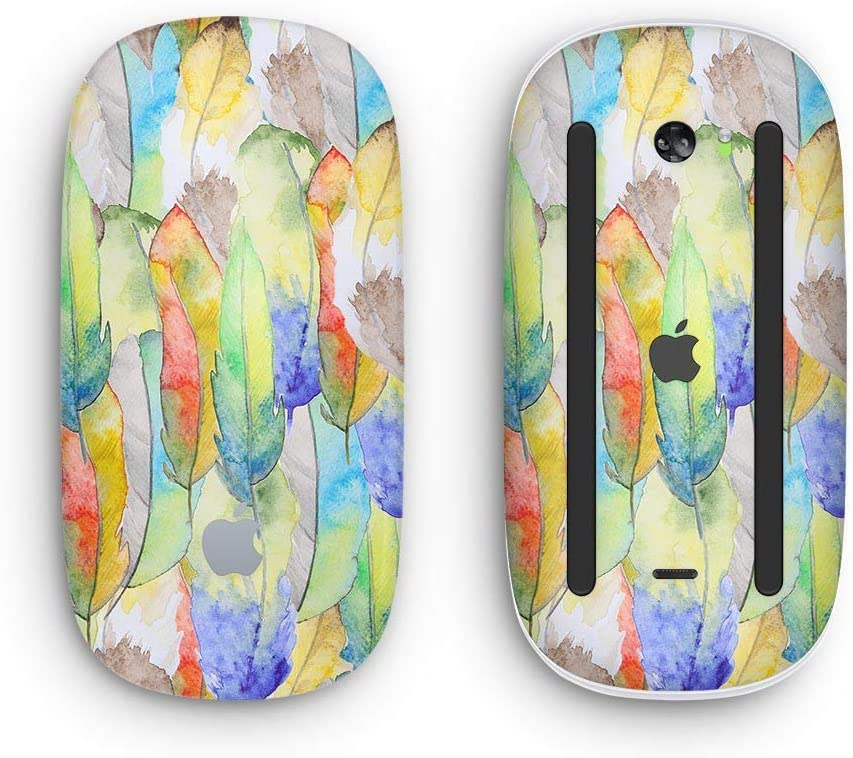 Design Skinz Premium Vinyl Decal for The Apple Magic Mouse 2 Wireless, Rechargable with Multi-Touch Surface Vivid Watercolor Feather Overlay