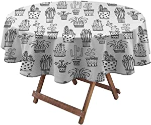 Tablecloth Doodle Flowers in Pots with Polka Dots and Zig Zags Tropical Plants Monochrome Multi Color Table Cloths Table Cover Food and Spills Wipe Up Easily Grey and White (Diameter70 Inch)