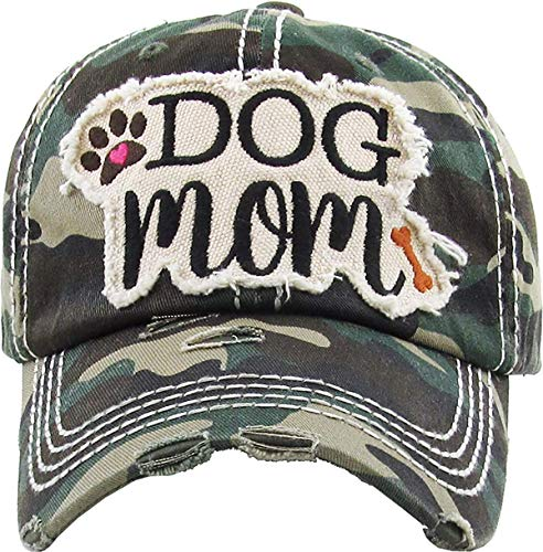 Funky Junque Womens Baseball Cap Distressed Vintage Unconstructed Embroidered Dad Hat (Dog Mom - Camo)