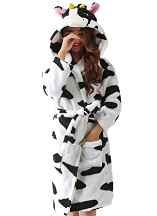 ECHERY Womens Hooded Bathrobes Plush Animal Cartoon Long Robes Nightwear Unisex Cosplay Pajamas Size S Cow