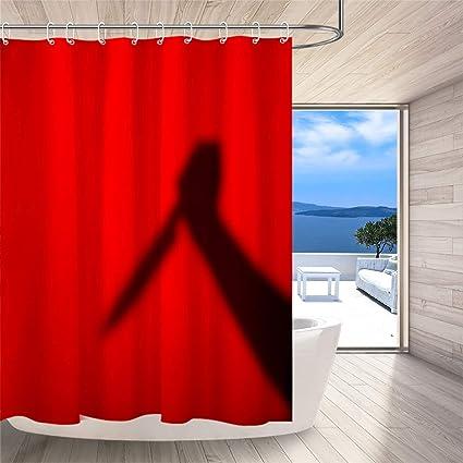 LB Spooky Shower CurtainHolding The Knife Phantom On Red Background Scary Scene Halloween Bathroom