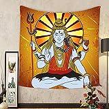 Gzhihine Custom tapestry Spiritual Tapestry Religious Figure on Grunge Backdrop Idol Meditation Boho Holy Print for Bedroom Living Room Dorm Amber Orange Light Blue