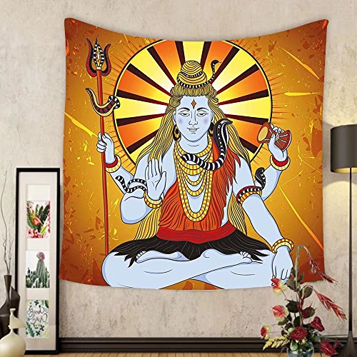 Gzhihine Custom tapestry Spiritual Tapestry Religious Figure on Grunge Backdrop Idol Meditation Boho Holy Print for Bedroom Living Room Dorm Amber Orange Light Blue by Gzhihine
