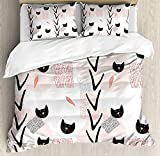 Twin XL Extra Long Bedding Set, Modern Duvet Cover Set, Cute Cat Faces with Dotted Whiskers Kittens Animals Kids Nursery Theme, Cosy House Collection 4 Piece Bedding Sets