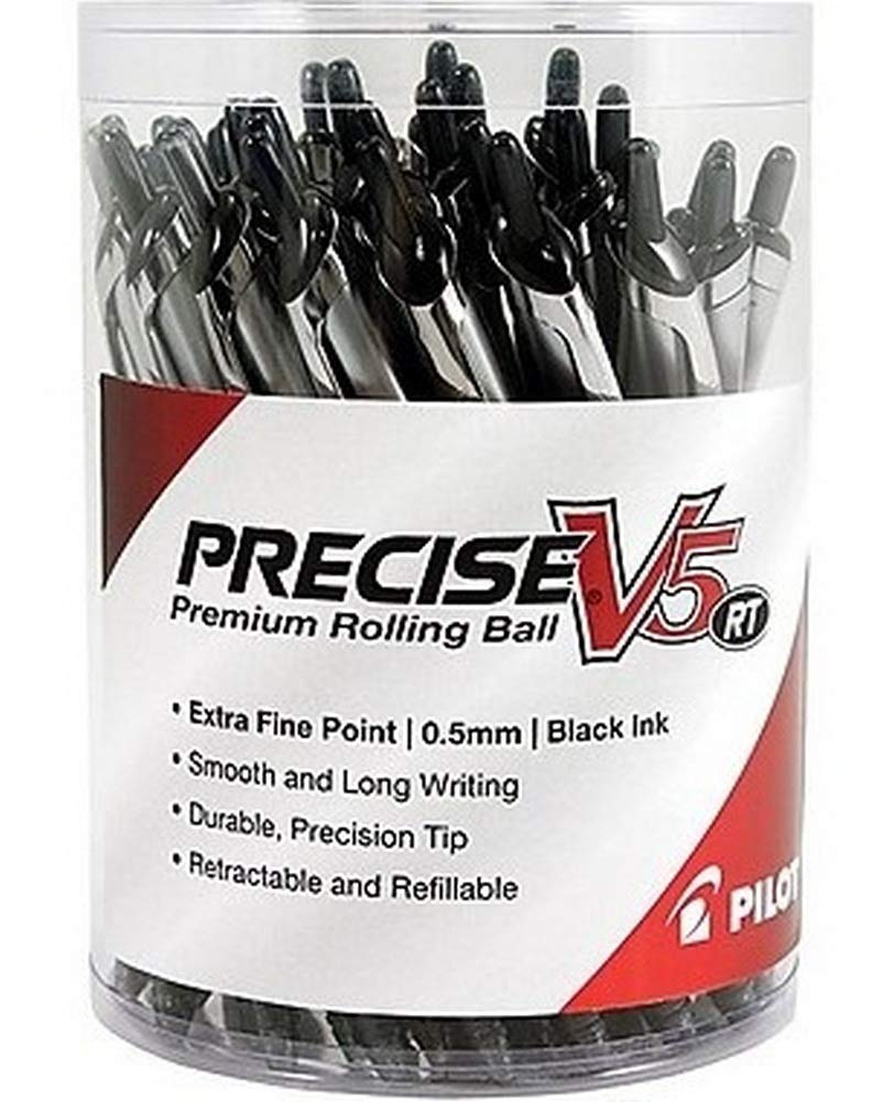 Pilot Precise V5 RT Retractable Rollerball Pens, Extra Fine Point, Black Ink, 24/Pack (84067) by Pilot (Image #1)