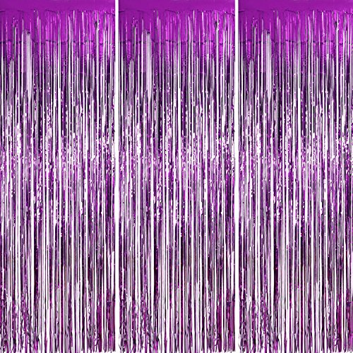 Sumind 3 Pack Metallic Tinsel Curtains, Foil Fringe Shimmer Curtain Door Window Decoration for Birthday Wedding Party (Purple)