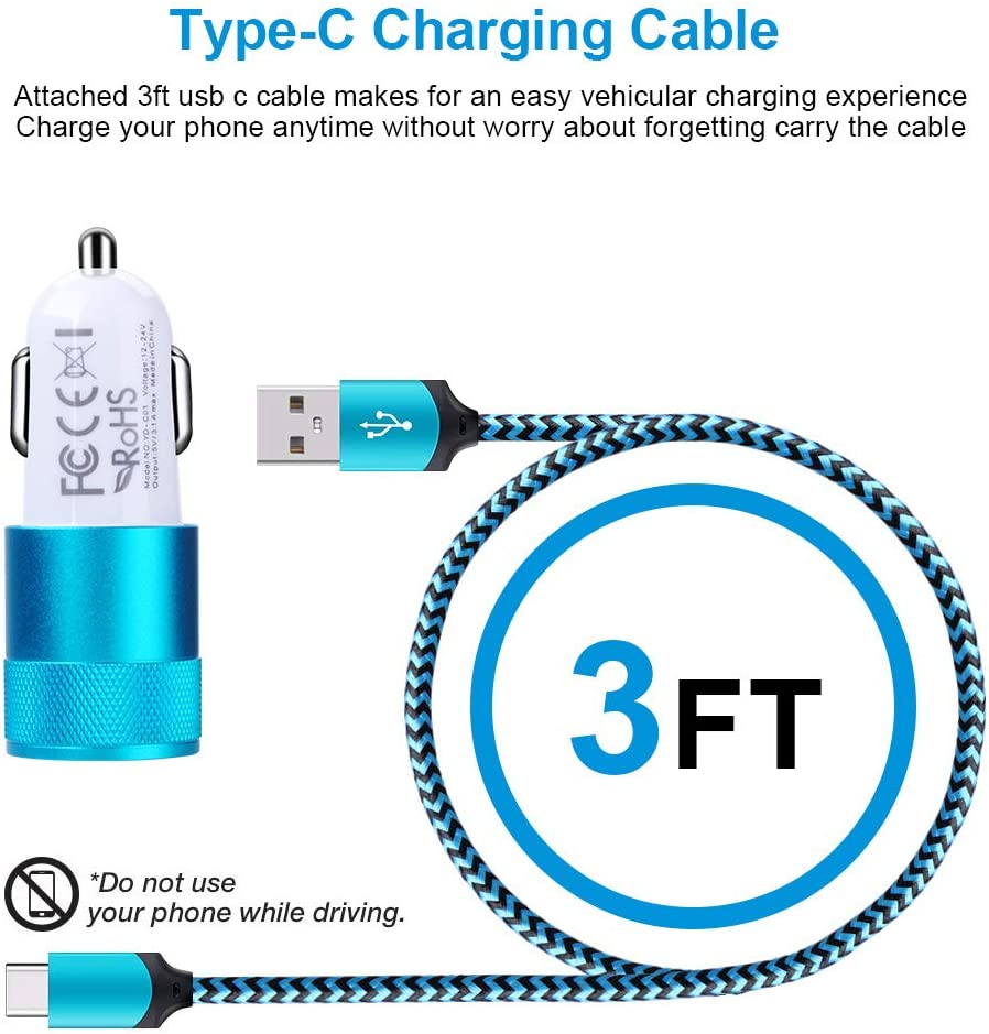 Moto G8 G7 Power Play G6 X4 Z4 Z3 Z2 Dual Port Car Charger Adapter with 6ft USB Type C Fast Charging Cable Compatible with Samsung Galaxy S20 S10 S10e S9 Note 10+10 9 A10e A20 A30 A40 A50 A70 A80 A90