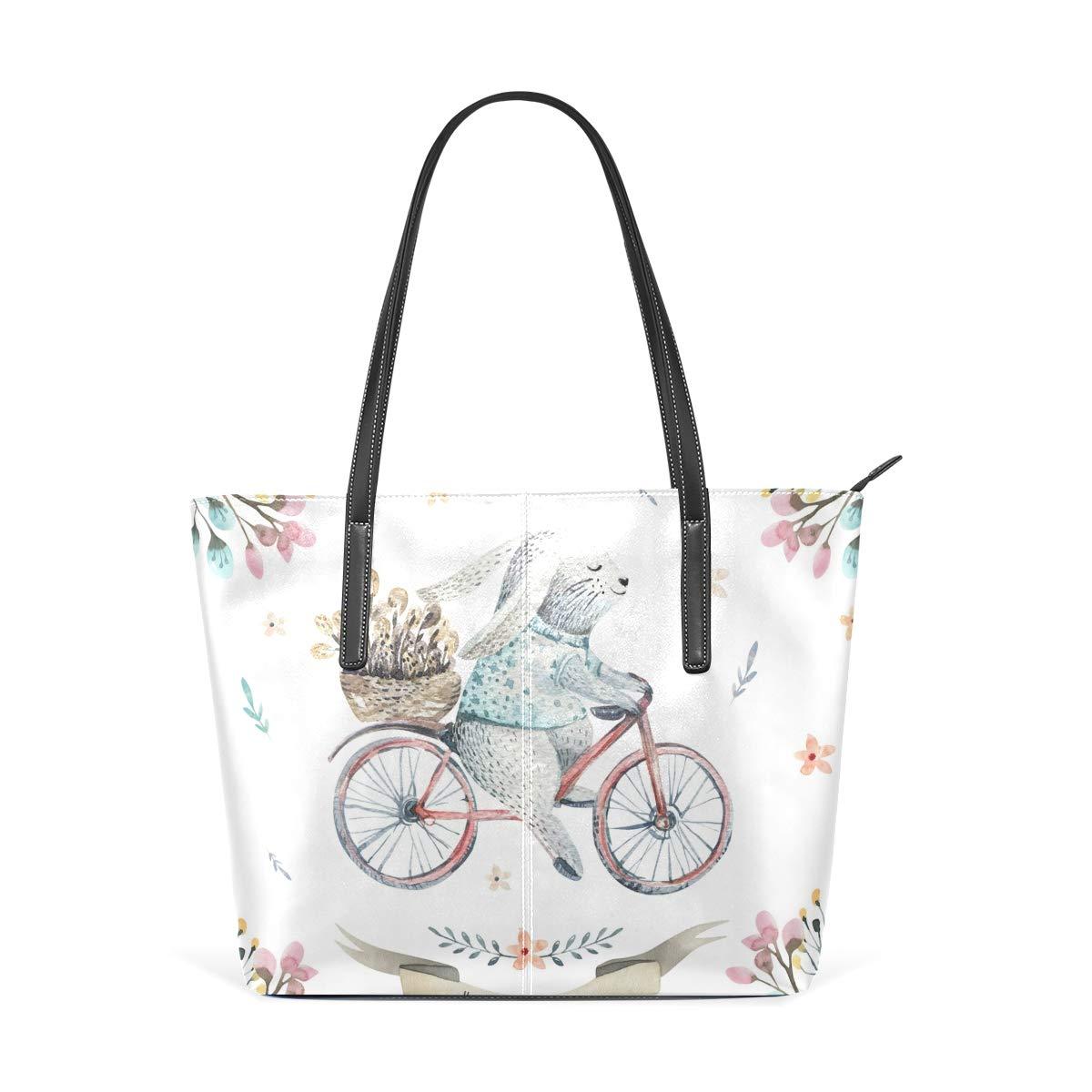 3b01f950c004 Amazon.com: Happy Easter Rabbit Bunny Bicycle Fashion Leather Tote ...