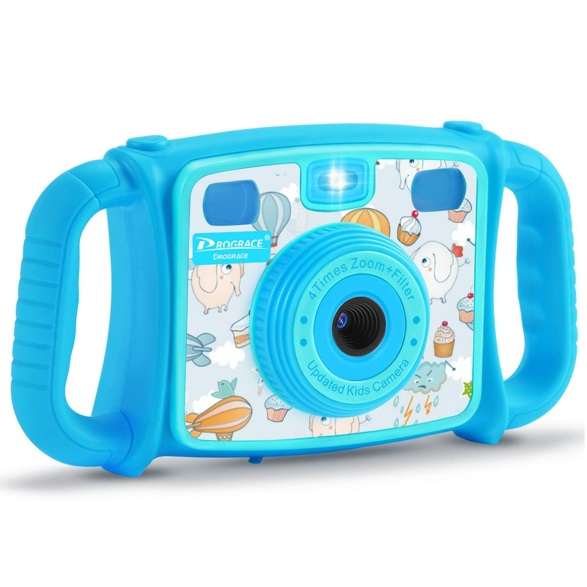 PROGRACE Kids Camera Creative Camera 1080P HD Video Recorder Digital Action Camera Camcorder for Boys Girls Gifts 2.0'' LCD Screen with 4X Digital Zoom and Funny Game(Blue) by PROGRACE