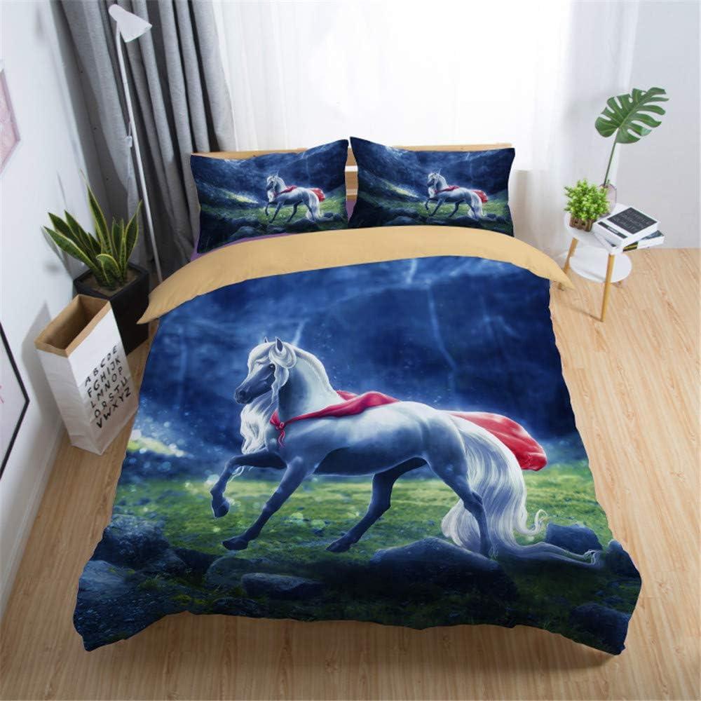 Stillshine Ropa de Cama King Size 220x240 Juegos de Fundas para edredón - Cama 150 cm Creativo 3D Animal Lobo Gato Caballo Unicornio Noche Paisaje ...