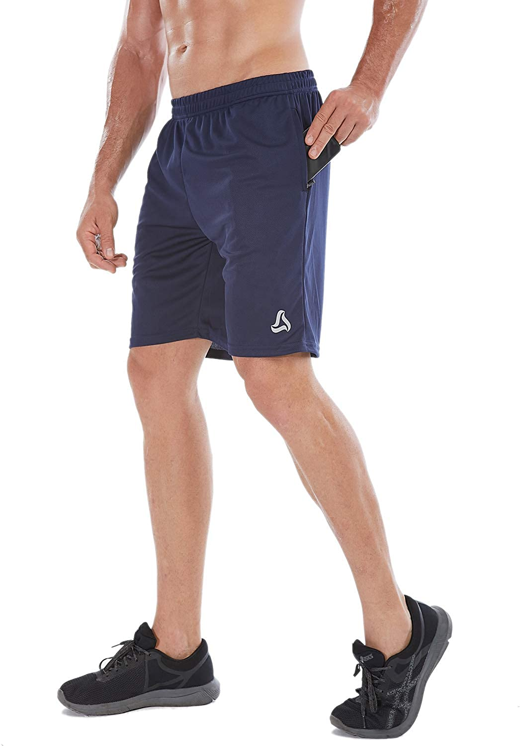 SILKWORLD Mens 7 Athletic Running Shorts with/Zipper Pockets(Pack of 3)