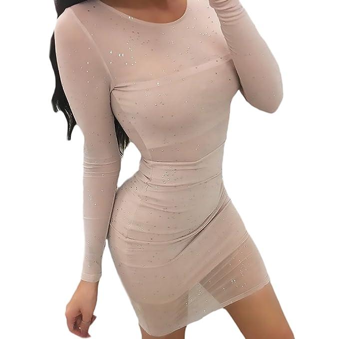 BIRAN Vestidos De Fiesta Cortos Mujer Fashion Elegantes Transparentes Hilado Bastante Neto Vestido De Noche Manga Larga Cuello Redondo con Rhinestone ...