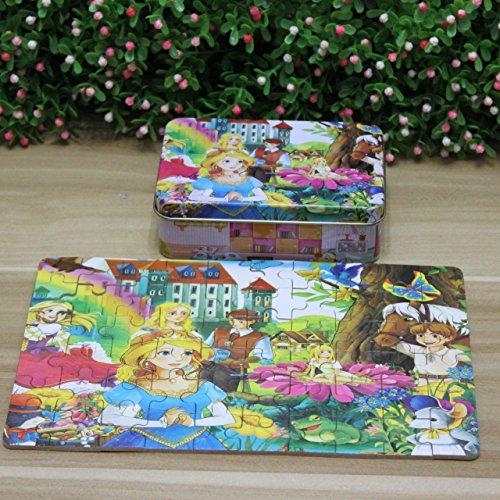 TINNZTES 60pcs Lovely Princess Jigsawパズルinボックス子供の初期の教育学習おもちゃクリスマスクリスマス新しい年ギフト男の子女の子