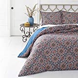 3 Piece Geometric Diamond Tribal Medallion Patterned Duvet Cover Set King Size, Printed Rustic Exotic Wild Flowers Bedding, Bold Modern Nature Lovers Design, Earthy Elegant Western Style, Blue, Red