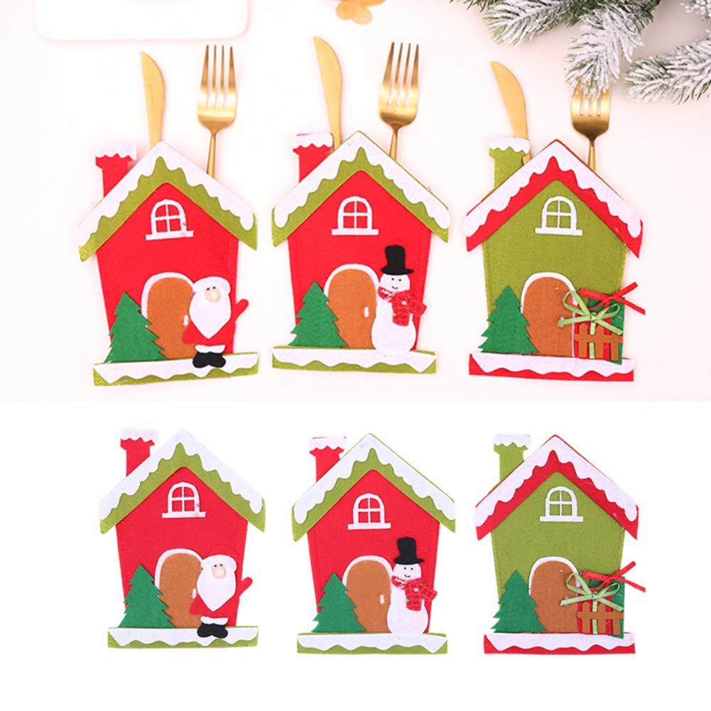 CHoppyWAVE Cutlery Pouch, Christmas Tree House Santa Elk Snowman Xmas Dinner Table Decor Spoon Knife Pouch - 4# by CHoppyWAVE (Image #9)
