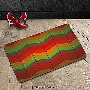 Custom lavable Felpudo Tribal abstracto decoración Zig Zag geométrico rayas African inspirado Bohem arte bosque verde rojo y naranja para interiores/al aire libre Felpudo alfombra alfombra alfombra