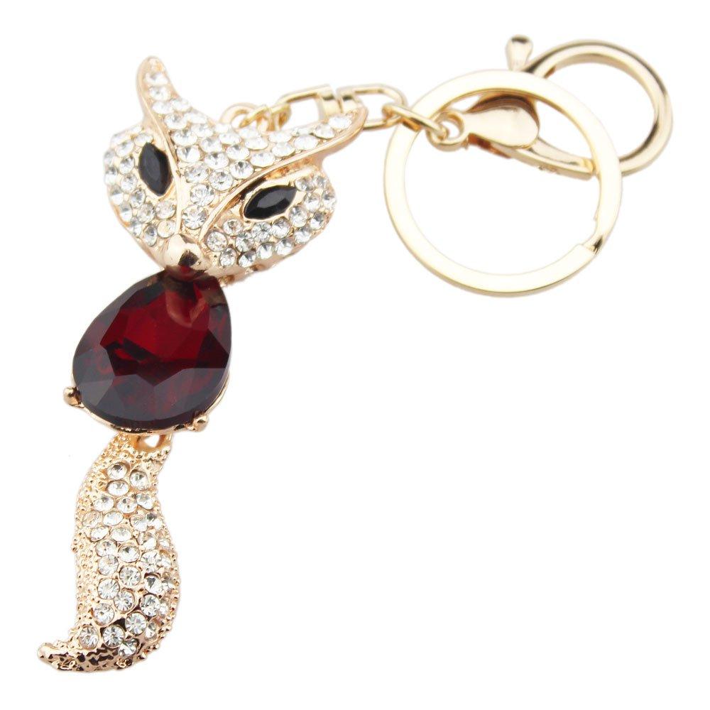 FOY-MALL Cute Fox Crystal Rhinestone Alloy Women Bag Keychain Charm H1165