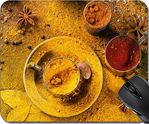 Price comparison product image MSD Natural Rubber Mousepad Mouse Pads/Mat design: 30401653 Set of spices pepper turmeric anise coriander in vintage metal cups over yellow curry powder Top view
