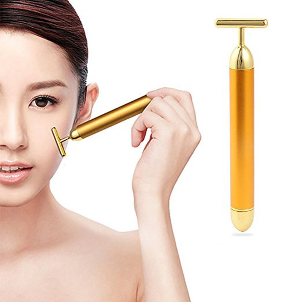 24K Gold Beauty Bar T-Shape Facial Roller Massager Face Vibration Slimming Tool Handheld Massager