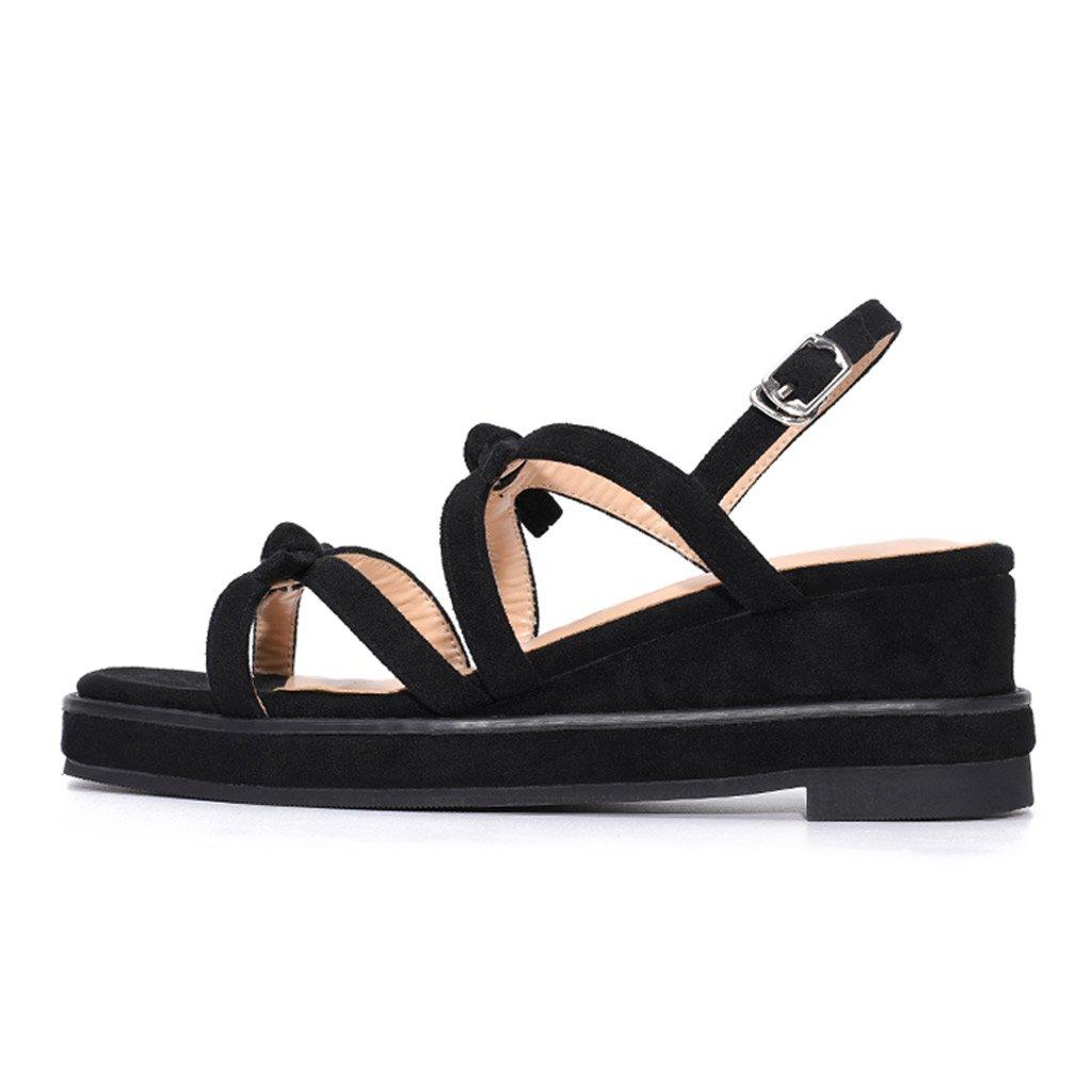 SANDALIAS Las últimas últimas últimas Cuña - Verano Sweet Bow Student 6CM High Heels, Zapatos de Plataforma de Mujer (Color : Negro, Tamaño : 35) d34cc2