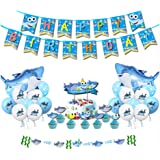 Birthday Party Decoration for Boys Kids, Baby Shark Party Supplies Kits with Happy Birthday Banner, (Set 37 Pcs)