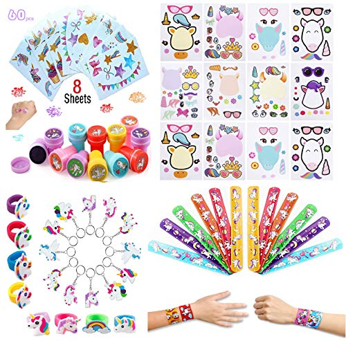 (60 Pack Unicorn Party Favors Supplies, Rainbow Birthday Theme Assorted Kit, Make A Unicorn Tattoos Stickers,Slap Bracelets, Stampers, Rings and Keychains, Bulk Toys for Carnival Prizes for Kids and Girls )