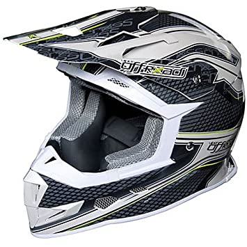 Casco Moto Cross Enduro One Racing Viper blanco gris Extra Large