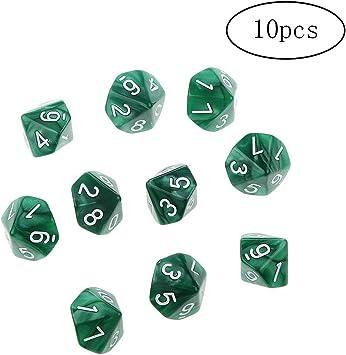 Ndier 10 Piezas Juego de Dados de 10 Caras Mesa de Juego de Dados D10 Redondo de acrílico Dados Corner Dados de Casino Partido publicación de Mesa Juegos de Cartas Verdes Puntales: