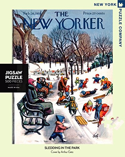 New York Puzzle Company - New Yorker Sledding in The Park - 500 Piece Jigsaw ()