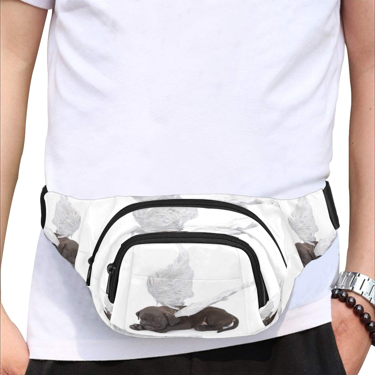 Fantasy Puppy With Angel Wings Fenny Packs Waist Bags Adjustable Belt Waterproof Nylon Travel Running Sport Vacation Party For Men Women Boys Girls Kids