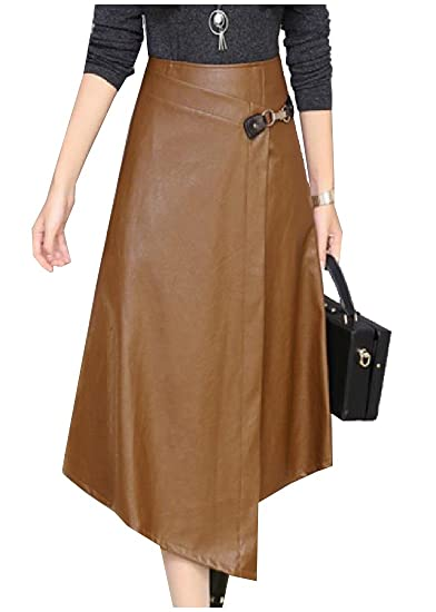 793a1d5c9be Coolred-Women Faux Leather A-line Big Swing PU Premium Maxi and Midi Skirt  at Amazon Women s Clothing store