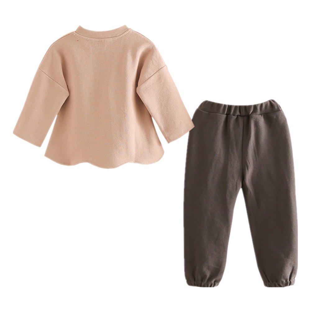 LittleSpring Little Girls Pants Set Winter Warm