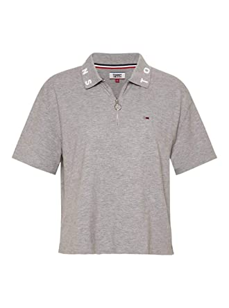 Tommy Jeans Polo Logo Collar Gris Mujer XL Gris: Amazon.es: Ropa y ...