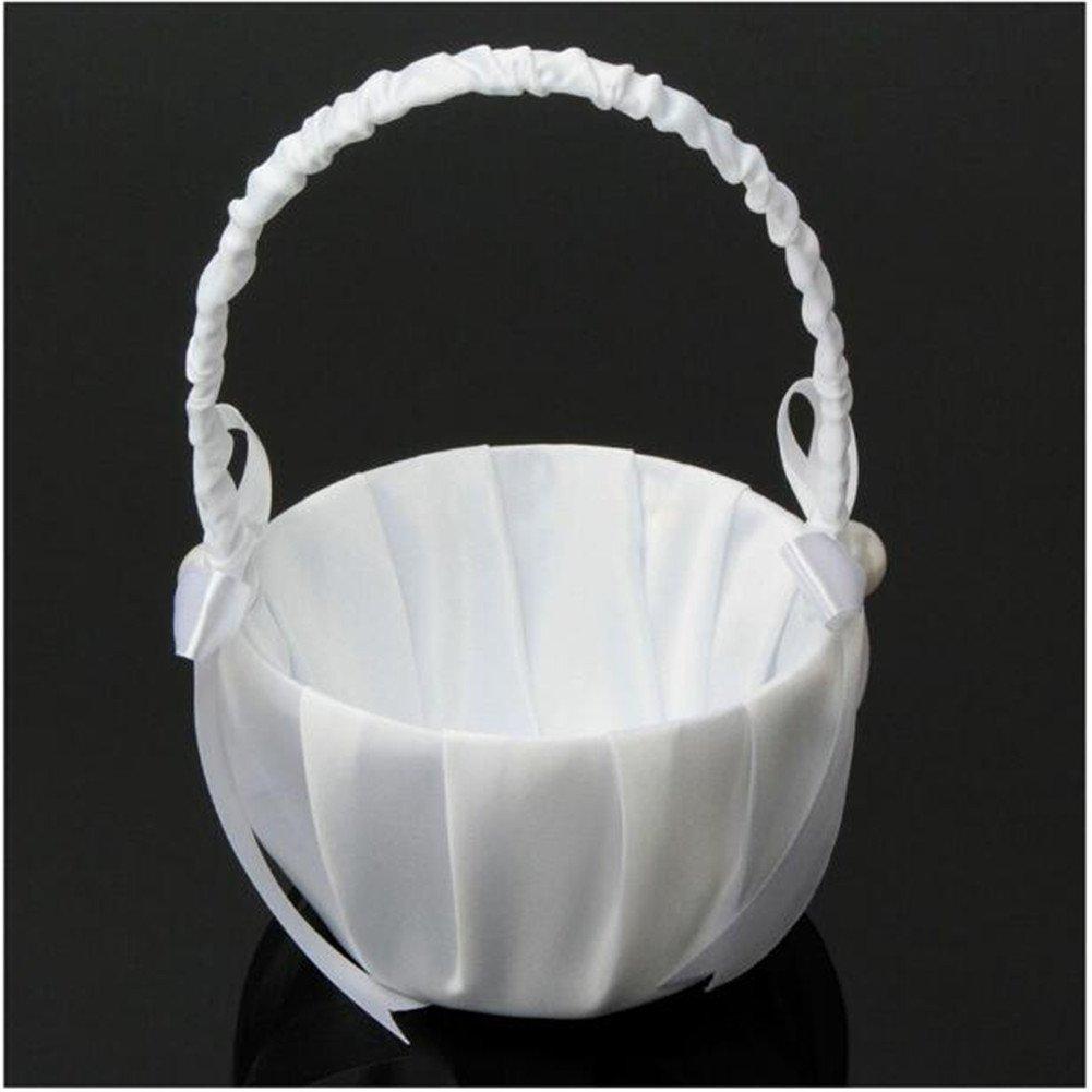 White,13/×22cm Wedding Flower Basket,Bride Flower Basket,White Satin Bowknot Design Wedding Party Rhinestone Flower Girl Baskets Bridesmaid Basket for Wedding Ceremony Party Decoration Storage Basket