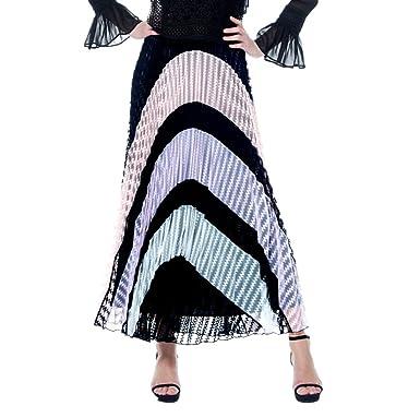 540d3c7984 Gracia Pleated Color Block Maxi Skirt (Medium, Black): Amazon.co.uk:  Clothing