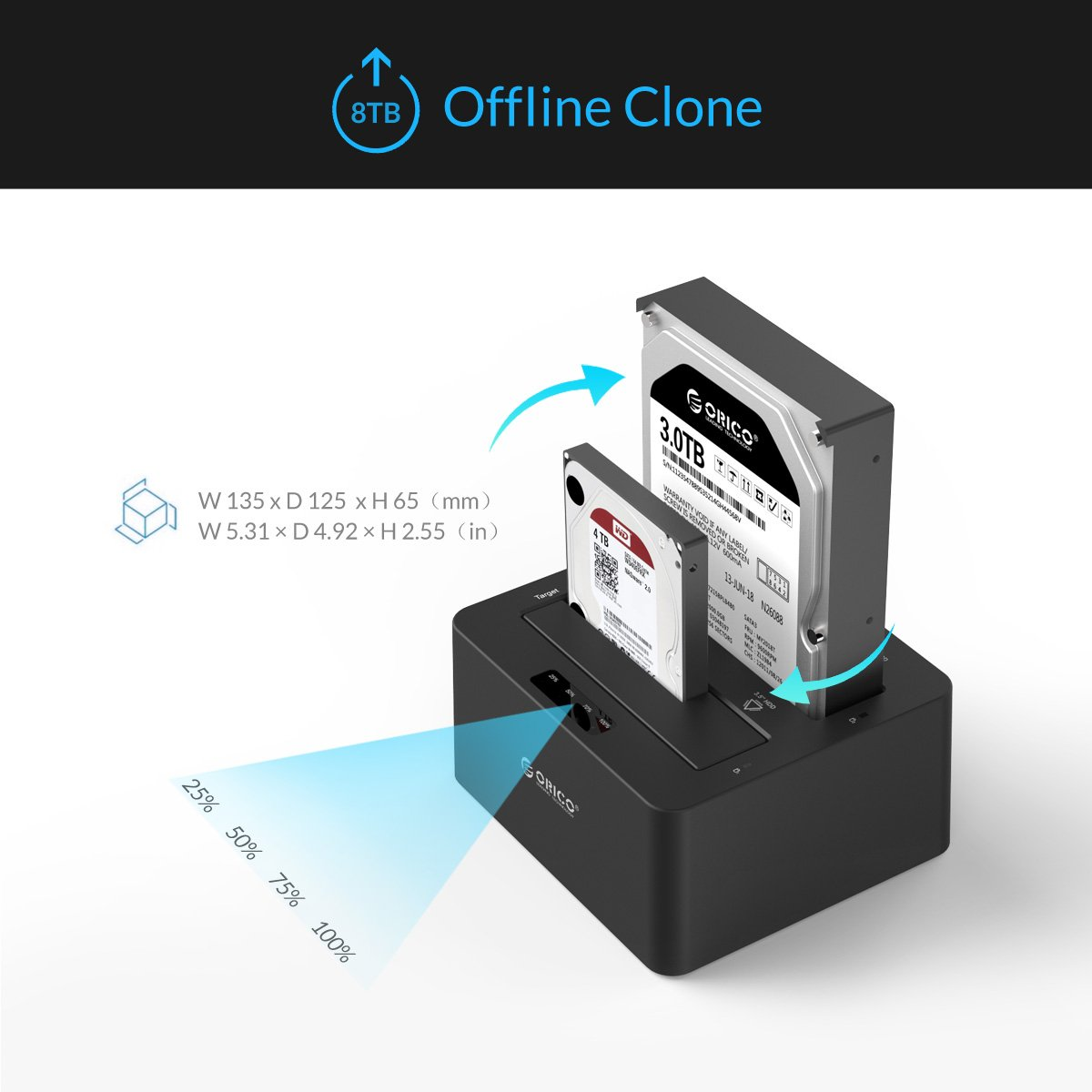 ORICO Dual-Bay 2.5'' 3.5'' USB 3.0 to SATA Hard Drive Docking Station with Offline Duplicator and Clone Function [UASP Protocol and 2 x 8TB Supported]- Black by ORICO (Image #6)