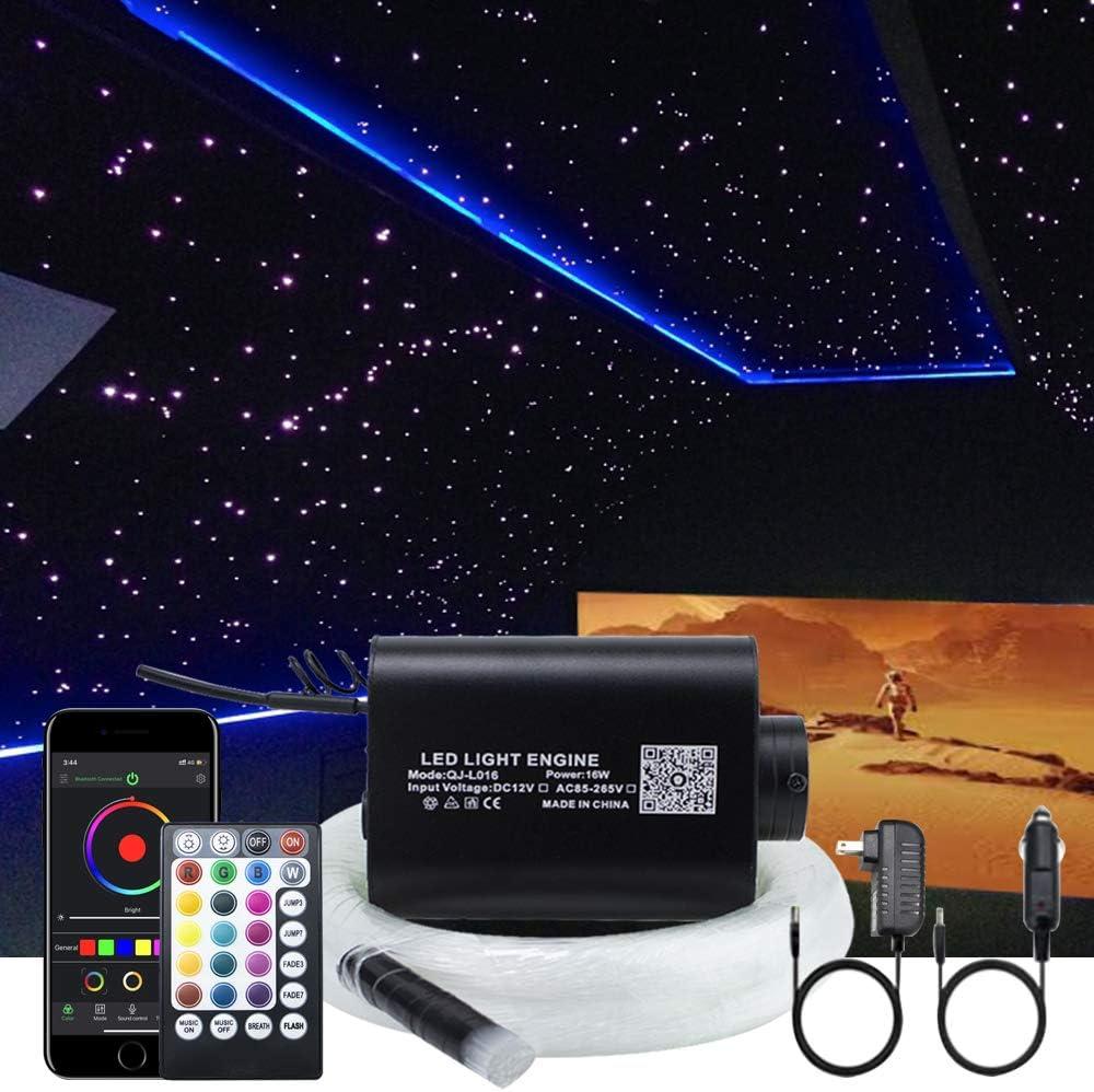 AKEPO 16W Fiber Optic Lights Optical Fibre Star Ceiling Light Kit RGBW APP+Music Control Car Home Use, Sound Sensor Light Source with 28key RF Musical Remote and Fiber Cable 450pcs 0.75mm 9.8ft/3m