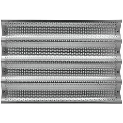 HUBERT Perforated Baguette Pan Full Size Aluminum 4-Long - 26''L x 3 3/4''W Loaf Size by Hubert