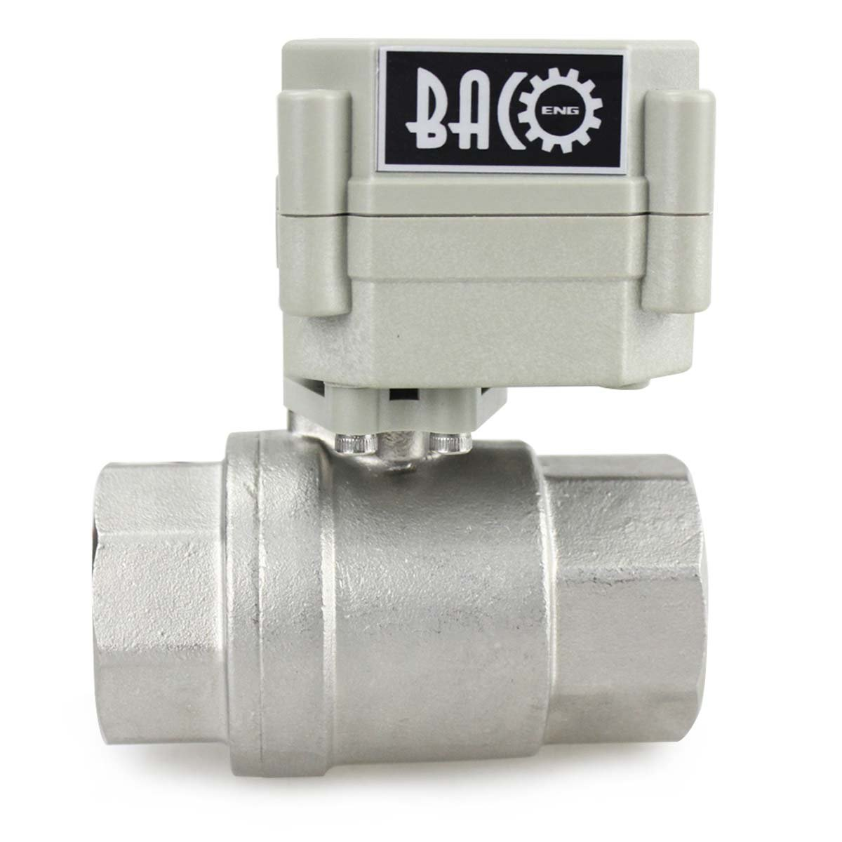 BACOENG Vanne 2 voies motoris/ée 1//2 DN15 Acier Inoxydable AC110//230V CR202 avec prise normalement ferm/ée