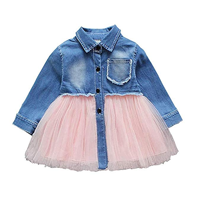 1d1189b2c Toddler Infant Baby Girl Dress Denim Jeans Top Pink Tulle Tutu Dress Skirt  Outfits