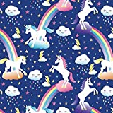 Unicorn & Rainbows Anti-Pill Fleece Fabric By The Yard by David Textiles