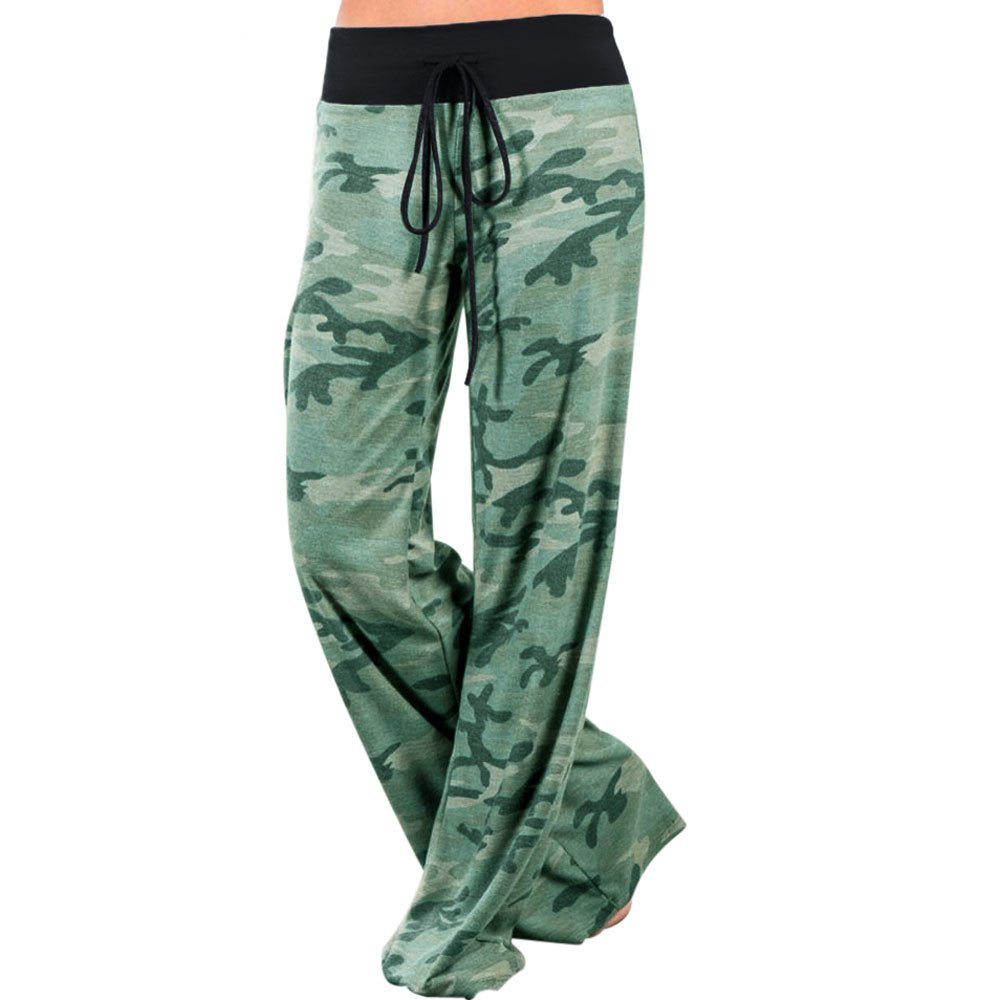 Women Wide Leg High Fold Over Waist Camouflage Printed Camo Palazzo Pants Plus Size (XXL, Camo)