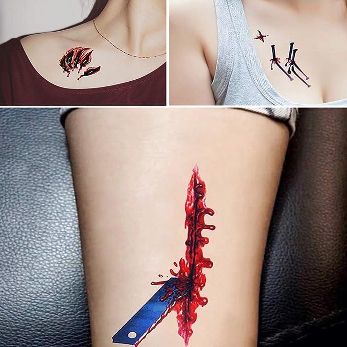 OWUDE 18 Hojas Tatuajes temporales de Halloween, Cicatrices ...