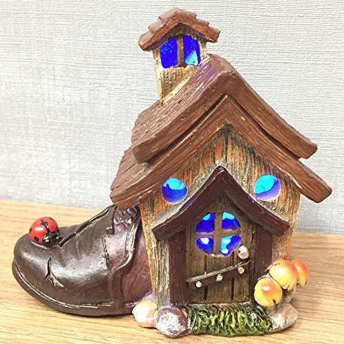Mystical Cobblers Shoe House Garden Indoor LED Light Decor - Battery Operated Elf Fairy Pixie Home H12cm