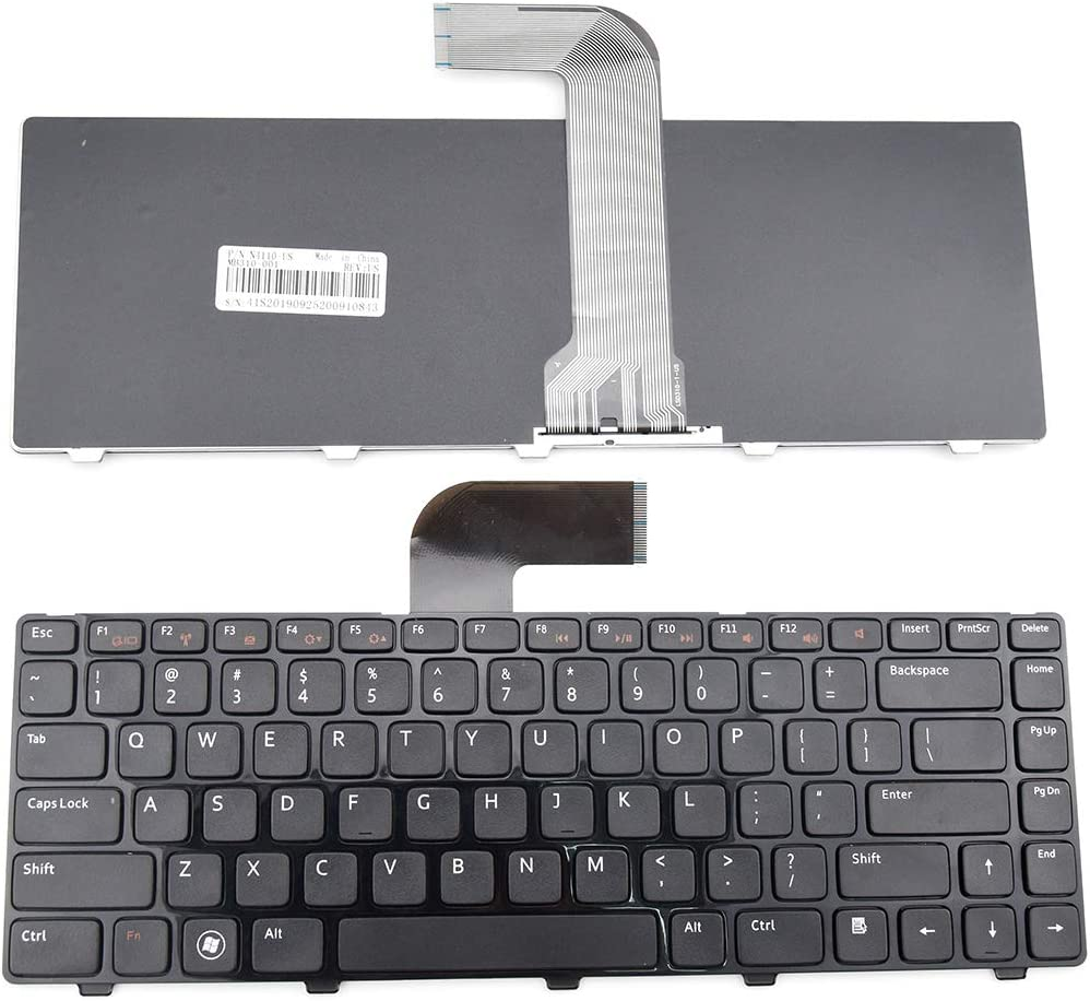 E-ZeeGaa Keyboard Replacement with Frame for Dell Inspiron 14R N4110 N4120 M4110 N4050 N5040 N5050 M5040 M5050, VOSTRO 1440 1445 1450 1550 2420 2520 3350 3450 3460 3550 3555 3560 US Layout