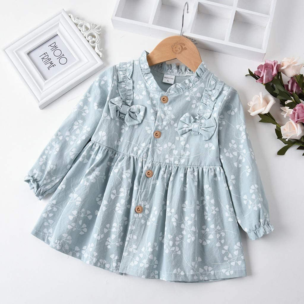 Infant Baby Girls Floral Flower Print Dress Long Sleeve Ruched Bow Button Princess Dress Party Photoshoot Outfits