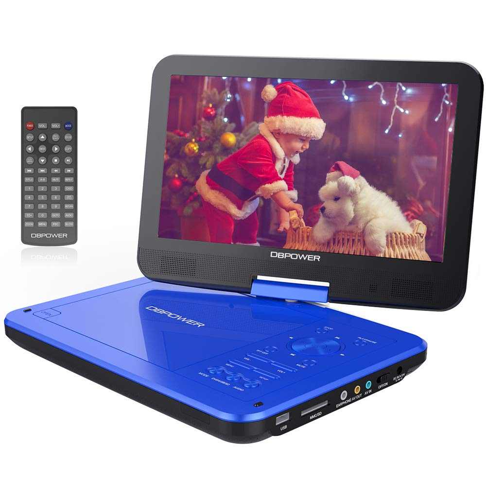 【Upgraded】 DBPOWER Portable DVD Player with 10.5'' HD Swivel Screen, Supports SD Card/USB/CD/DVD with AV in/Out and Earphone Port, 5-Hour Built-in Rechargeable Battery, Suitable for Car Headrest Mount