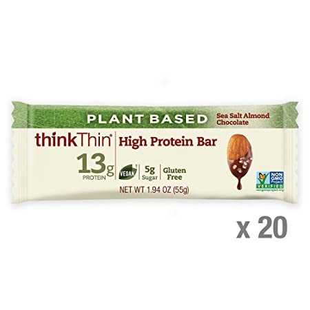 thinkThin High Protein Plant-Based Bars, Sea Salt Almond Chocolate, 1.94 Ounce 20 Count