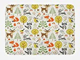 Lunarable Animals Bath Mat, Woodland Forest Animals Trees Birds Owls Fox Bunny Deer Raccoon Mushroom Print, Plush Bathroom Decor Mat with Non Slip Backing, 29.5 W X 17.5 W Inches, Multicolor