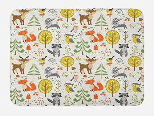 Lunarable Animals Bath Mat, Woodland Forest Animals Trees Birds Owls Fox Bunny Deer Raccoon Mushroom Print, Plush Bathroom Decor Mat with Non Slip Backing, 29.5 X 17.5, Orange Brown